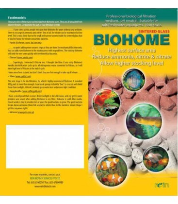 Biohome Plus bio natural filter media removes ammonia nitrite nitrate
