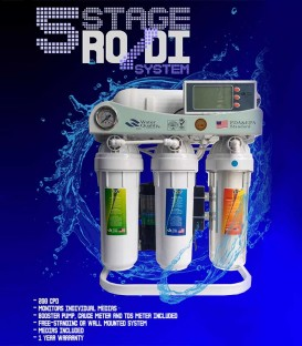 5-Stage Reverse Osmosis RO/DI Water Filter Deionizer (200 GPD)