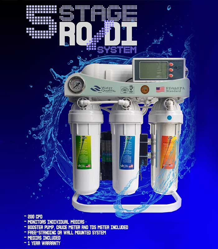 5 Stage Reverse Osmosis Ro Di Water Filter Deionizer 200
