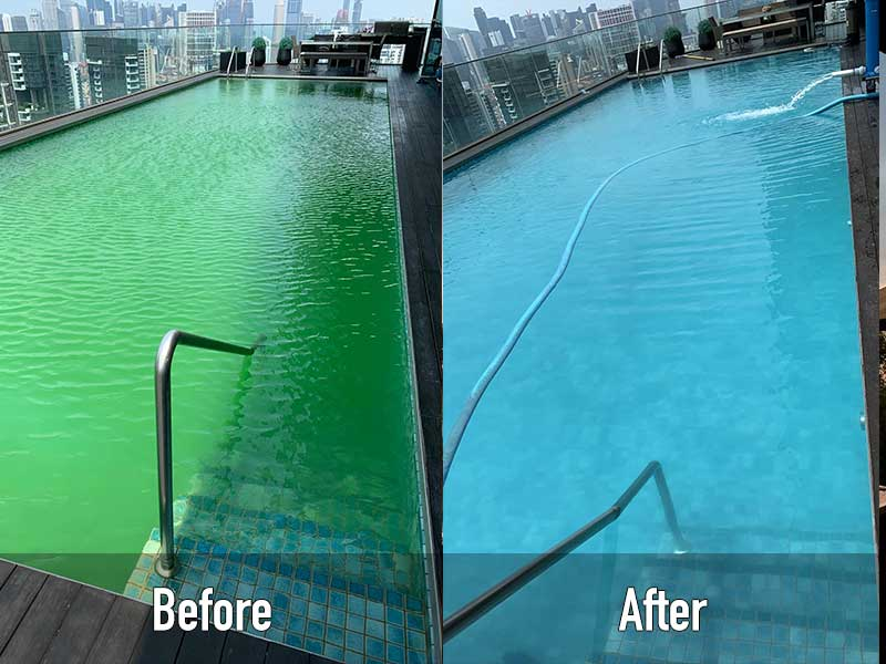 swimming pool maintenance service before and after comparison