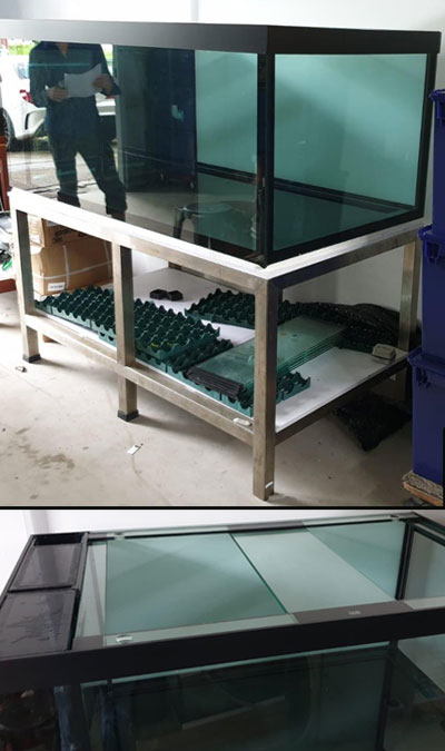 refurbished fish tanks, bracing top, japan grade stainless steel.