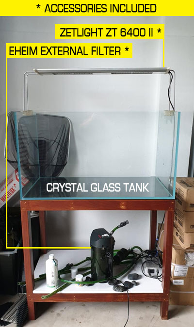 braceless second hand crystal glass tank on solid wooden stand