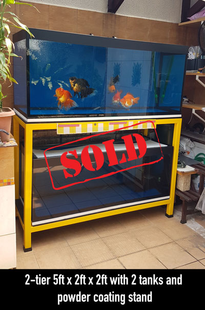 second hand 2-tier, 5ft x 2ft x 2ft, 2 tanks top & bottom, powder coated metal stand, heavy duty type