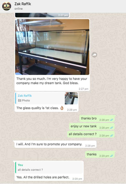 N30 Tank customer review - very happy, high quality glass and workmanship.