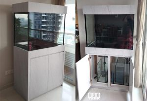 3FT-010: N30 Tank 3ft (L) x 500mm (W) x 750mm (H) 12mm all round with overflow to sump and cabinet set up. Lovely marble-textured cabinet. Compact enough to fit into any living space.