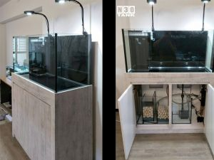 4FT-019 : N30 Tank Slim Cabinet Aquarium (Gooseneck Overhead LED Lighting, Sump Set)