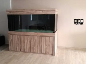 6ft-0003 N30 Tank - Custom-made tank and cabinet in walnut-wood colour.
