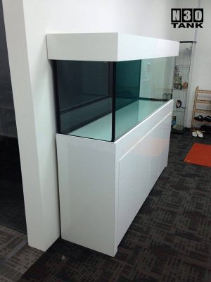 6ft-0009 N30 Tank - 6ft Planted Tank in Piano-White Lamination. Cabinet With solid-wood support. Aquarium maintenance is easy with open-top hood.