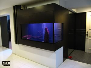 6ft-11 - 6 feet Custom-Made Aquarium Cabinet. Contemporary Black/White style. Designed and installed by N30 Singapore.