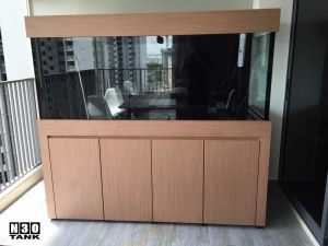 6ft-13 N30 Tank - A balcony aquarium built by N30. Classic wood cabinet design.