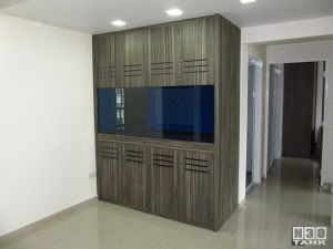 6ft-5 N30 Custom Made Tank - A full-height 6-feet aquarium neatly installed in living hall corner. Cabinet in wood-grain finish.