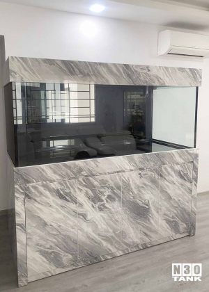 """6FT-021: N30 Tank with cabinet in marble formica. Custom made by N30 Tank. Size: 72"""" (L) x 30"""" (W) x 30"""" (H) 12mm all. With 4ft sump."""
