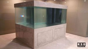 8ft office aquarium (Japan Acrylic Tank by N30) - Close up of marble-wrapped stand.