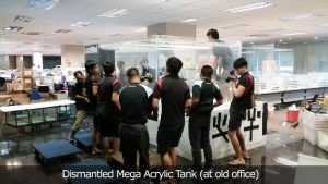 acrylic-A1 : Dismantled Mega Acrylic Tank (at old office)