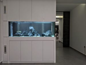 FH-011: Full Height N30 Tank. Aquarium cabinet exquisitely set in the living space. The aquarium is designed uniquely to offer unobstructed view from all sides.