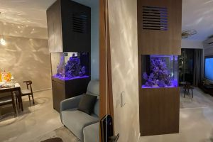 FH-013: Full Height N30 Tank with Aquarium Scaping setup. Tank with full-height cabinet along with the aquarium scaping all done by N30 Tank. Gorgeous view from all angles.