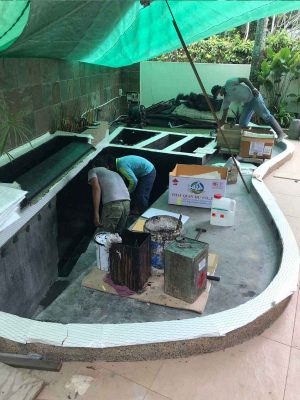 Painting and waterproofing pond walls