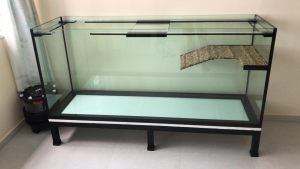 "Terrarium-003: N30 Turtle Tank 6ft (L) x 2ft (W) x 32"" (H) on low profile Heavy Duty Mild Steel Stand (galvanised material) with FX6 Canister Filter."