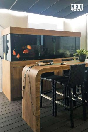 unique-007: N30 9ft x 3ft x 3ft 19mm all round Arowana comm tank with sump cabinet set. Onsite Buildup.