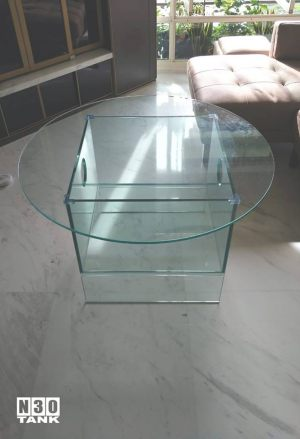 Unique-019: Special Round Table Top with Fish Tank (bottom). Custom made by N30.