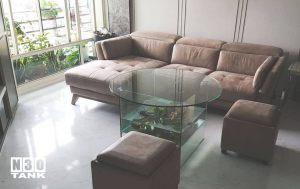 Unique-020: Special Round Table Top with Fish Tank (bottom). Custom made by N30.